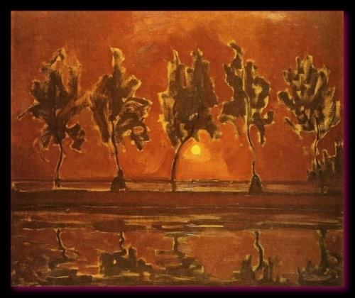 Arbres sue le Gein au Lever de la lune 1907-1908 Gemeentemuseum, la Haye,  Pays-Bas.