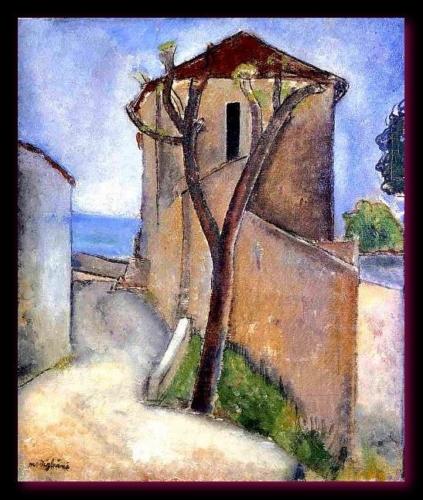 Arbre et maison. Modigliani 1919 (coll. part.)