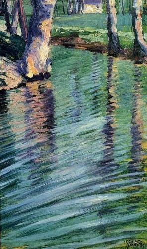 Arbres se reflétant dans un étang 1907 SCHIELE