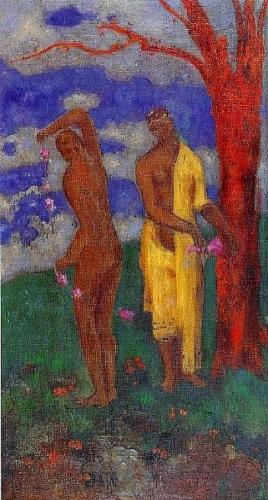 Deux femmes sous un arbre rouge 1905 REDON