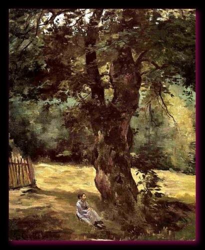Femme assise sous un arbre. 1874 Caillebotte